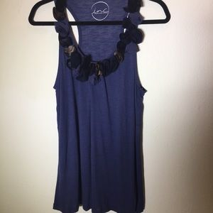 INC Blue Knit Racer Back Tank with Rosette Neck L